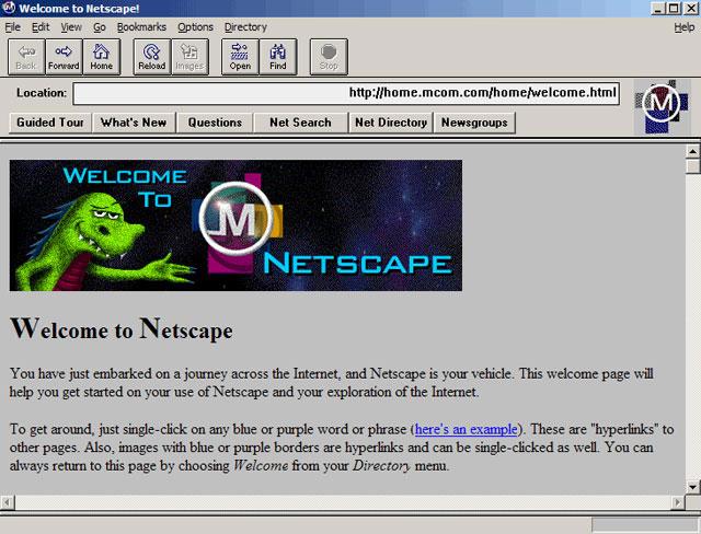 Captura de pantalla de la página de inicio de Mosaic/Navigator donde se explica qué son los hiperenlaces.