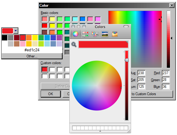 Una entrada de color y los selectores de color nativos de Windows y OS X