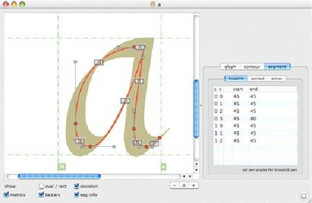 Captura de pantalla donde pueden verse los vectores usados para crear una letra a.