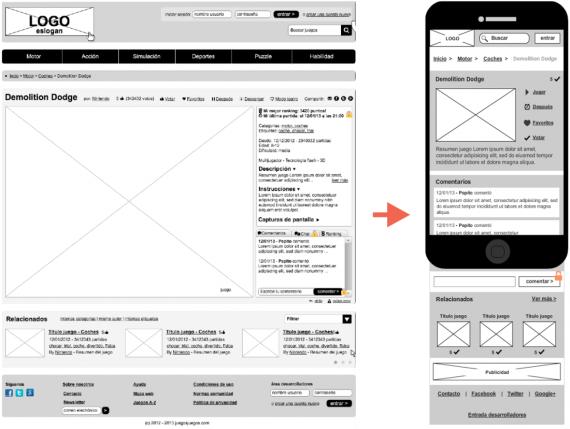 creación de wireframes directamente desde el navegador mockflow para crear la versión para smartphone