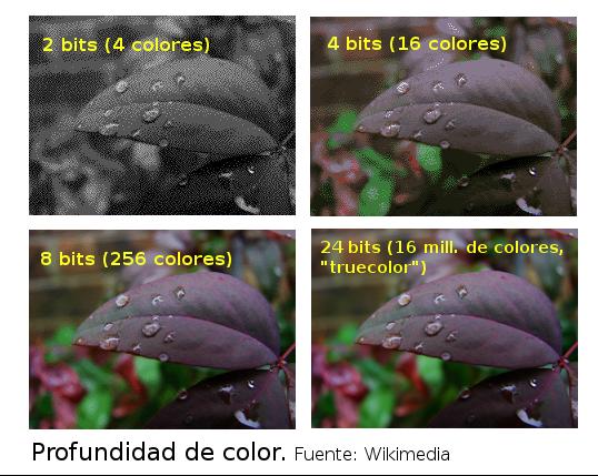 Profundidad de color a 2, 4, 8 y 24 bits
