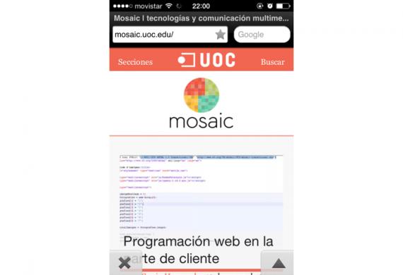 Vista de Mosaic en Opera Mini, con texto alternativo en lugar de iconos