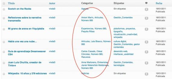 Lista de artículos en el administrador de WordPress, en la versión anterior de Mosaic