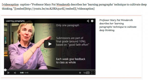 Videos con leyenda: el shortcode y su resultado final