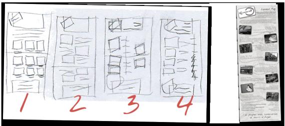 Bocetos: a la derecha bocetos en papel, a la izquierda el resultado final basado en el boceto número 2