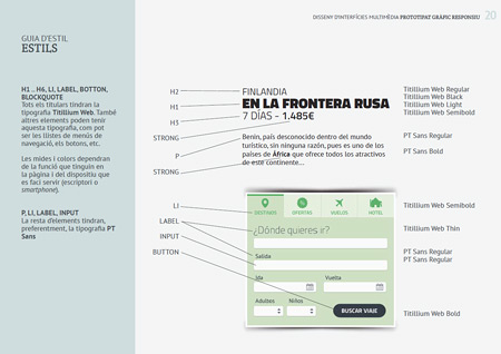 Ejemplo de una página de la guía de estilo donde se muestra qué tipografía y qué etiqueta de html corresponde a cada elemento de una parte de la página.