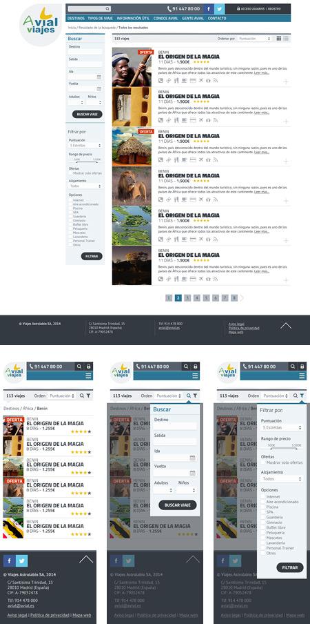 En este ejemplo se puede observar como las opciones de filtrar y de buscar aparecen en la columna de la izquierda en el caso del diseño para pantalla de ordenador y, en cambio, en la versión para smartphone he optado por que solo se vean si el usuario pulsa en los iconos correspondientes. De esta manera, el usuario de la versión móvil, no tiene la pantalla saturada de opciones.