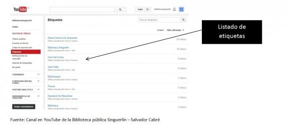 Canal en youtube de la biblioteca pública Singuerlín - Salvador Cabré