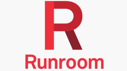 Una gran R sobre el texto Runroom, en diferentes tonos rojos y granates