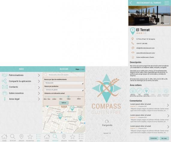 cuato imagenes del prototipo final de la aplicación: más, buscar, splash screen y ejemplo de restaurante