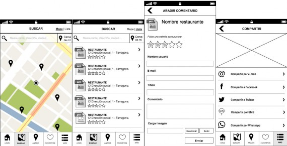 cuatro imagenes de la aplicación:  geolocalización, lista de restaurantes, formulario de comentarios y  ompartir