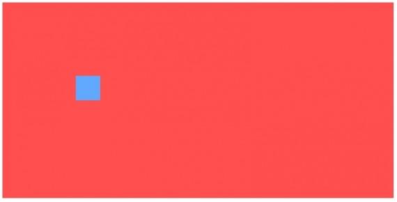 Un canvas rojo con un cuadrado azul dibujado