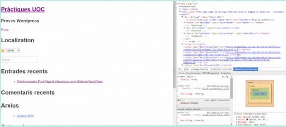 Consola de desarrollador del navegador Google Chtome