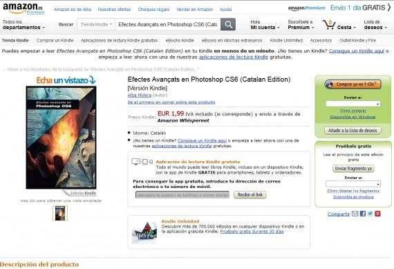 Captura de pantalla de la página de producto dedicada al libro