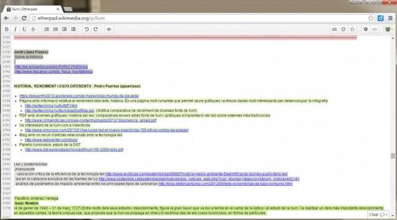 Captura de pantalla de la herramienta etherpad