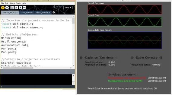Visualización del código de processing y de la interfaz.