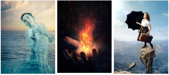 Las 3 imágenes creadas para ilustrar diferentes técnicas de foto manipulación.