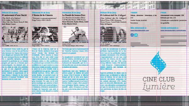 Distribución del texto. Retícula de 3 columnas y 40 filas.