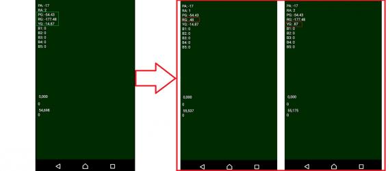 En la imagen podemos observar el error de sincronización de datos. La String de datos numéricos se corta, produciendo errores en la parte visual.