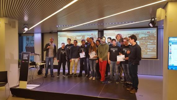 Imagen de los ganadores del HackForGood 2016 Barcelona. Foto: Antoni Marín Amatller.