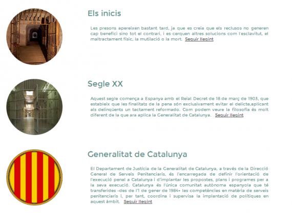 """Sección """"Historia"""" de la web. Toni Farelo Gil. Els centres penitenciaris a Catalunya. Una visió general."""