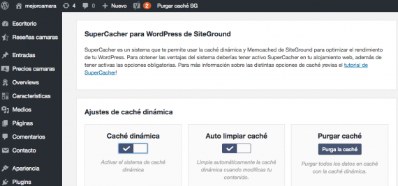 El plugin de caching de SiteGround para WordPress