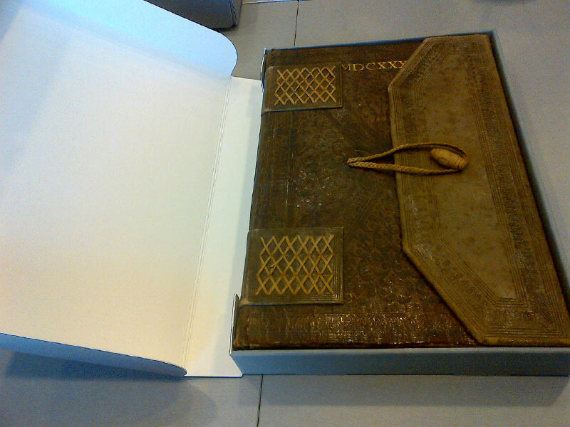 Llibre de la Cadena (libro de privilegios s.XIII - XVIII) de la AHE protegido por una caja normalizada a medida. Imagen cedida por la AHE.