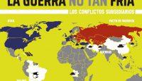 Infografía sobre la Guerra Fría, relativa a la incidencia de los conflictos subsidiarios ocasionados por sus principales protagonistas (Estados Unidos y URSS)